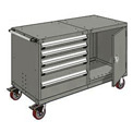 "Rousseau 5 Drawer Heavy-Duty Double Mobile Modular Drawer Cabinet - 60""Wx27""Dx37-1/2""H Light Gray"