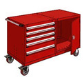 "Rousseau 5 Drawer Heavy-Duty Double Mobile Modular Drawer Cabinet - 60""Wx27""Dx37-1/2""H Red"