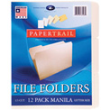 "Roaring Spring Manila File Folders, 1/3 Cut, 12"" x 9"", Manila, 12/Pack, 12 Packs"