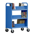 Sandusky® SV336 Double-Sided Slant 6 Shelf Steel Book Cart 37x18 Blue