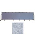 "Screenflex 9 Panel Portable Room Divider, 4'H x 16'9""L, Vinyl Color: Blue Tide"