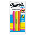 Sharpie® Accent Gel Highlighter, Smear Block, Assorted Ink, 3/Pack