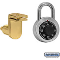 Salsbury Combo Padlock with Door Gold Finish Hasp 11120 - for Solid Oak Executive Wood Locker Door