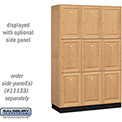 Salsbury Solid Oak Executive Wood Locker 13368 - Triple Tier 3 Wide, 16x18x24, 9 Door, Light Oak