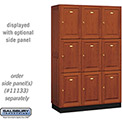 Salsbury Solid Oak Executive Wood Locker 13368 - Triple Tier 3 Wide, 16x18x24, 9 Door, Medium Oak