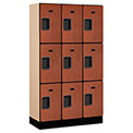 "Salsbury Designer Wood Locker 33355 - Triple Tier 3 Wide 12""W x 15""D x 20""H Cherry Unassembled"