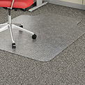 "Lorell® Economy Office Chair Mat for Carpet - 53""L x 45""W 95 mil Thick with Lip- Beveled- Clear"