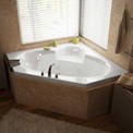 Atlantis Whirlpools Sublime Corner Whirlpool Bathtub, 60 x 60, Center Drain, White