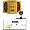 Collision Awareness Basic Forklift Overhead Door Alert, 1 Box, 1 Remote Sensor, 2 Lights, 15' Cord