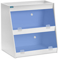 """TrippNT™ White PVC Angled Triple Safety Shelf Station with Blue Door, 24""""W x 9""""D x 20""""H"""
