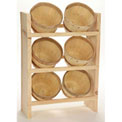 """Wood Counter Rack 20""""H x 10""""W x 6""""D with (6) 1/8 Peck Baskets - Natural"""