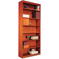 "Alera ALEBCS78436MC Square Corner Wood Veneer Bookcase, 7-Shelf, 35 5/8""Wx11-3/4""Dx84""H, Cherry"