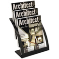 "deflect-o DEF693704 Three-Tier Magazine Holder, 11-1/4""W x 6-15/16""D x 13-5/16""H, Black"