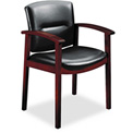 5000 Series Park Avenue Guest Chair, Black Leather/Mahogany Finish