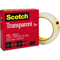 "Scotch® Transparent Tape, 1"" x 72yds, 3"" Core, Clear"
