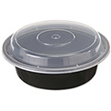 """Microwavable Container Combo Black/Clear 6"""" Diameter 16 Oz - 150 Pack"""