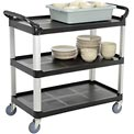 Update International BC-3520BZ - Bus Cart, 3 Tier, Black, 300 Lb. Capacity