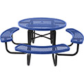 "46"" Steel Round Picnic Table, Diamond Pattern, Blue"