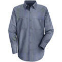 Red Kap® Men's Industrial Stripe Work Shirt Long Sleeve Gray/Blue Stripe Regular-M SP14