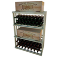 Bulk Storage, Wine Bottle Shelf, 3-Shelf, 3 Ft high - Light, Pine