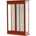 "Varsity Display Case Cherry Oak, Fabric Back, Hinged Door 48""W x 18""D x 77""H"