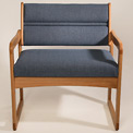 Bariatric Sled Base Chair - Light Oak/Olive Arch Pattern Fabric