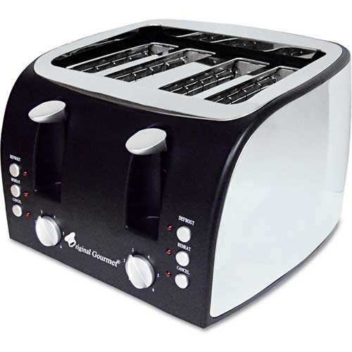 "Click here to buy Coffee Pro Toaster, 4-Slice, 12-1/2""W x 11-1/2""D x 8-1/4""H, Stainless Steel."