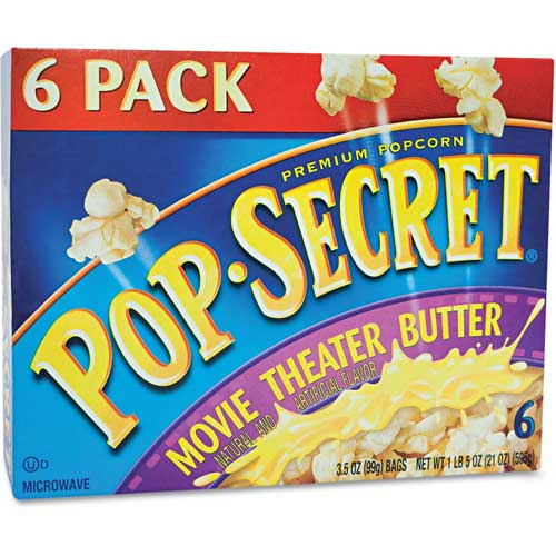 Pop Secret DFD57706 Popcorn, Microwave, Movie Theater Butter, 3.5 Oz, 6/Box by