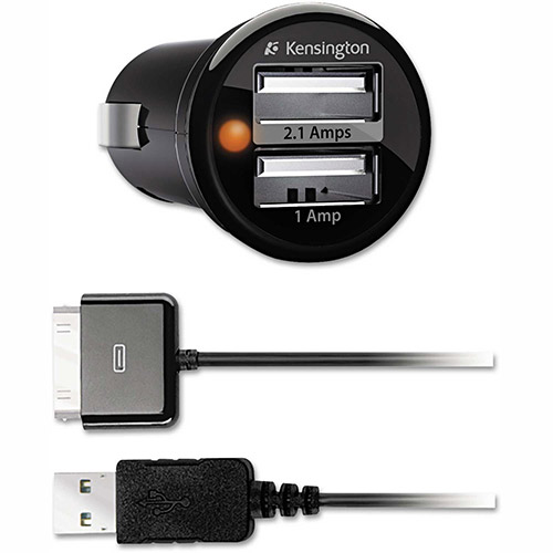 Buy Kensington Powerbolt Duo Car Charger, 2.1 + 1.0 Amp Ports, Detachable 30-Pin Cable
