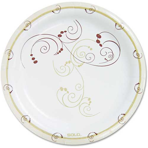 """SOLO Cup Company Symphony Paper Dinnerware, Heavyweight Plate, 9"""", Tan, 125/Pack by"""