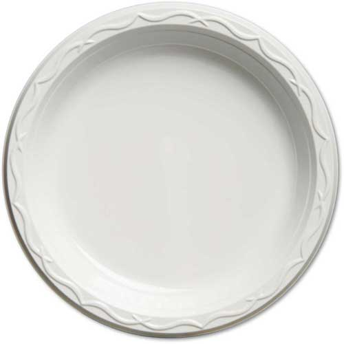 Aristocrat Plastic Plates, 9 Inches, White, Round, 500 ct by