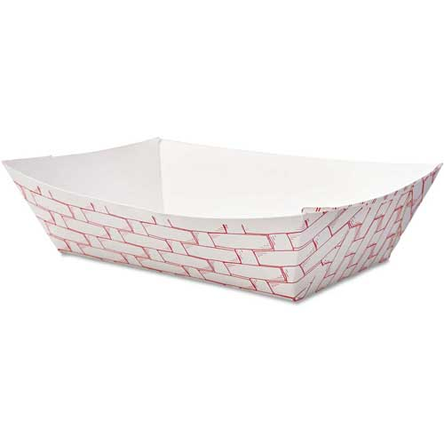 Boardwalk Paper Food Baskets, 2 Lbs. Capacity, Red/White by