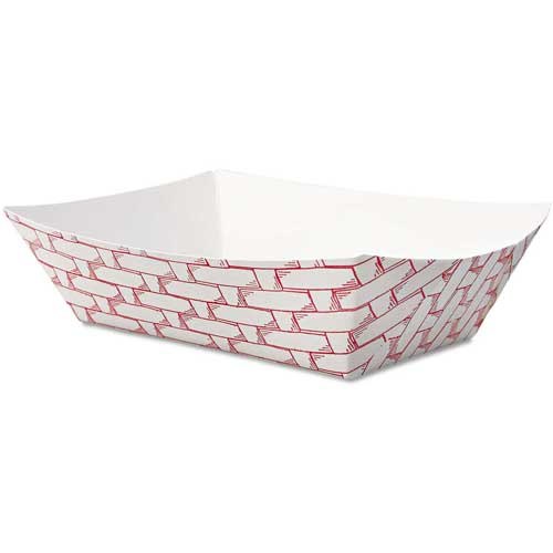Boardwalk Paper Food Baskets, 8 Oz. Capacity, Red/White by
