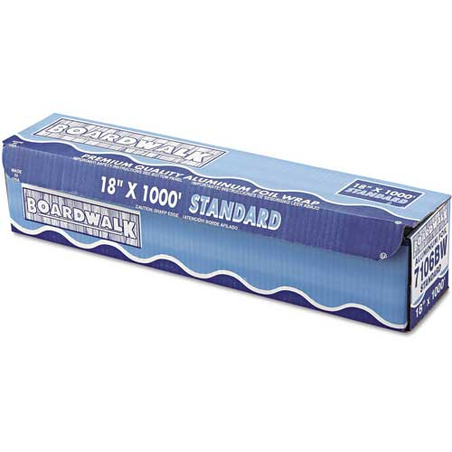 "Boardwalk Standard Aluminum Foil Roll, 18"" x 1000 Ft., 14 Micron Thickness, Silver by"
