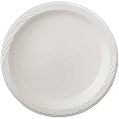 "Chinet Plastic Plates, 9"", White, Round, Lightweight by"