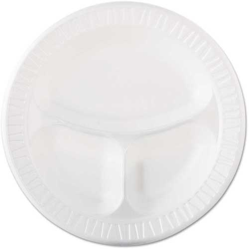 "Dart 10CPWQR Foam Plastic Plates, 3-Comp, 10 1/4"", White by"