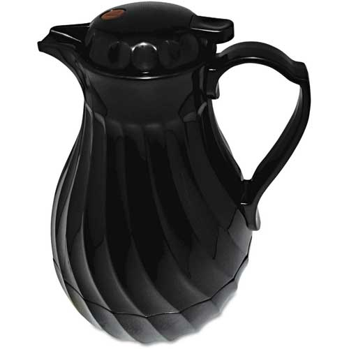 Click here to buy Poly Lined Black Swirl Design Carafe, 64 oz. Capacity.
