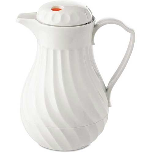 Poly Lined White Swirl Design Carafe, 64 oz. Capacity by