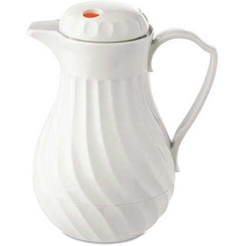 Poly Lined White Swirl Design Carafe, 40 oz. Capacity by