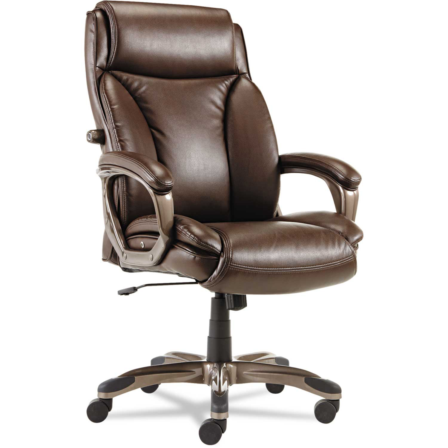 Alera Executive Leather Chair with Coil Spring Cushioning Leather Brown Veon Series  by