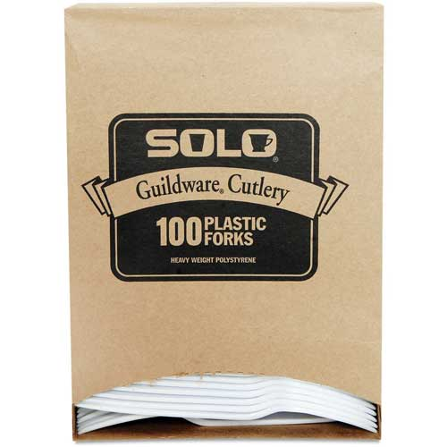 SOLO Cup Company Guildware Extra Heavy Weight Plastic Forks, White, 100 per Box by