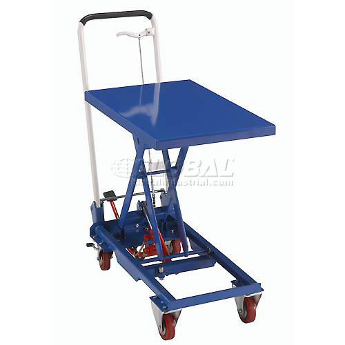 Best Value Mobile Scissor Lift Table with Folding Handle 330 Lb. Capacity 27 x 17 Platform by