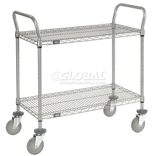Nexelate Wire Shelf Utility Cart 36x24 2 Shelves 800 Lb. Capacity by