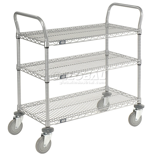 Nexelate Wire Shelf Utility Cart 36x24 3 Shelves 800 Lb. Capacity by