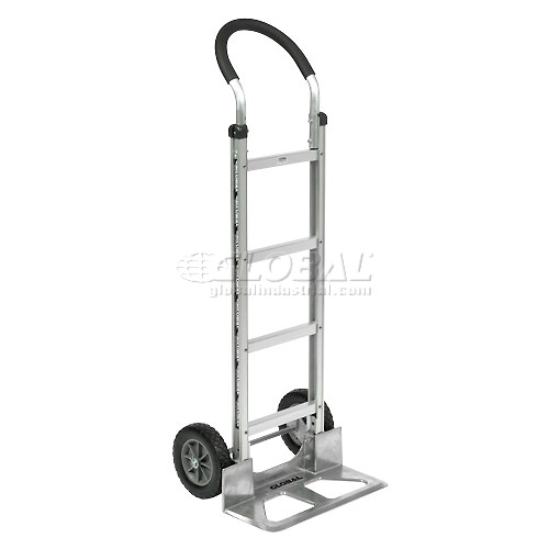 Global Industrial Aluminum Hand Truck Curved Handle Mold-On Rubber Wheels by