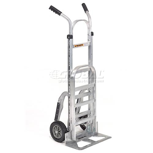 Global Industrial Aluminum Hand Truck Double Handle Mold-On Rubber Wheels by