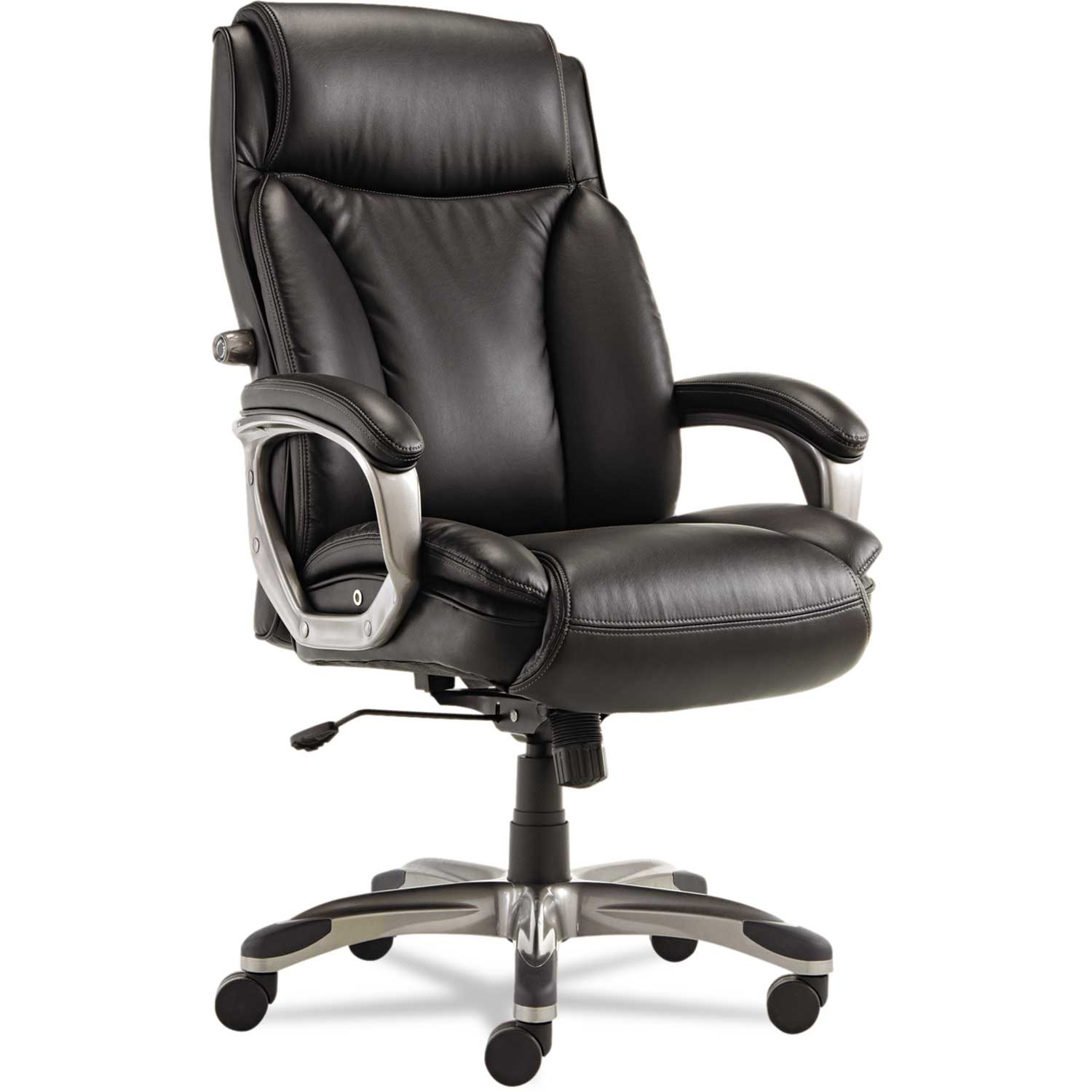 Alera Executive Leather Chair with Coil Spring Cushioning Leather Black Veon Series  by