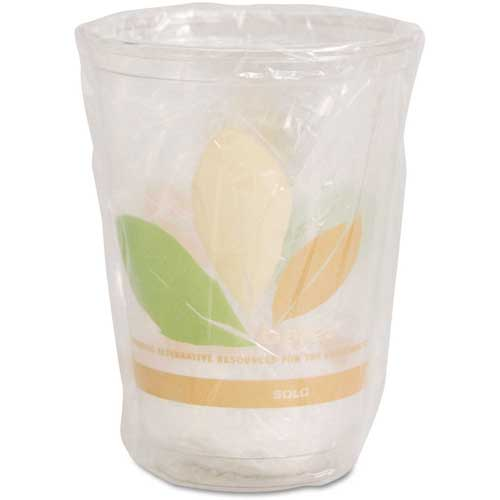 SOLO Bare RPET Cold Cups, Leaf Design, 10 oz, Individually Wrapped, 500/Carton by