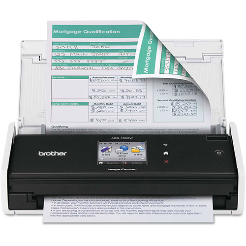 Buy Brother ADS1500W Wireless Compact Scanner, 600 x 600 dpi, 20 Sheet Automatic Feeder