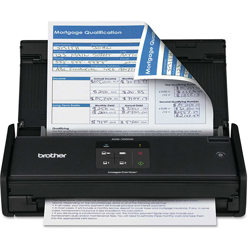 Buy Brother ADS1000W Wireless Compact Scanner, 600 x 600 dpi, 20 Sheet Automatic Feeder